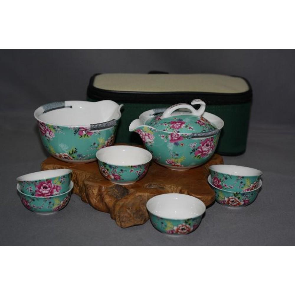 花團錦簇中杯旅行茶具組--綠
