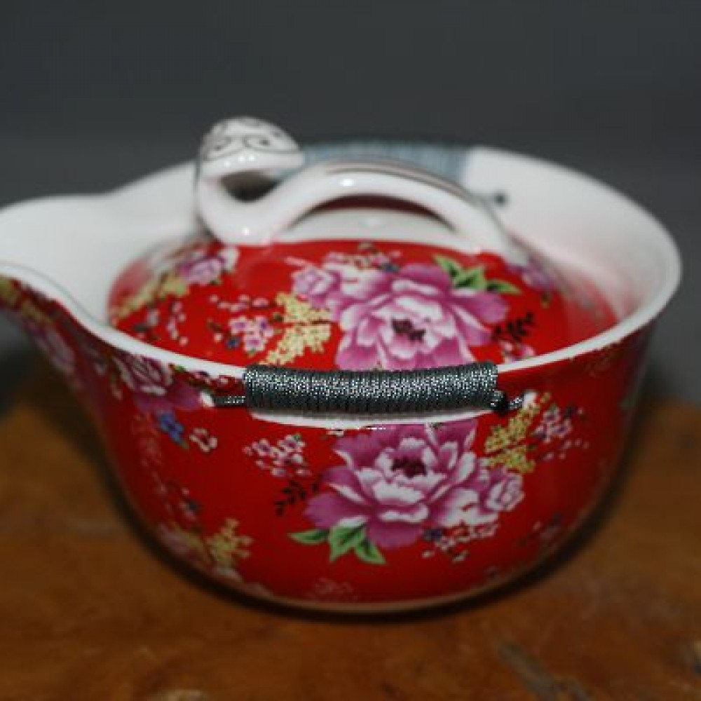 花團錦簇綁繩如意側壺--紅