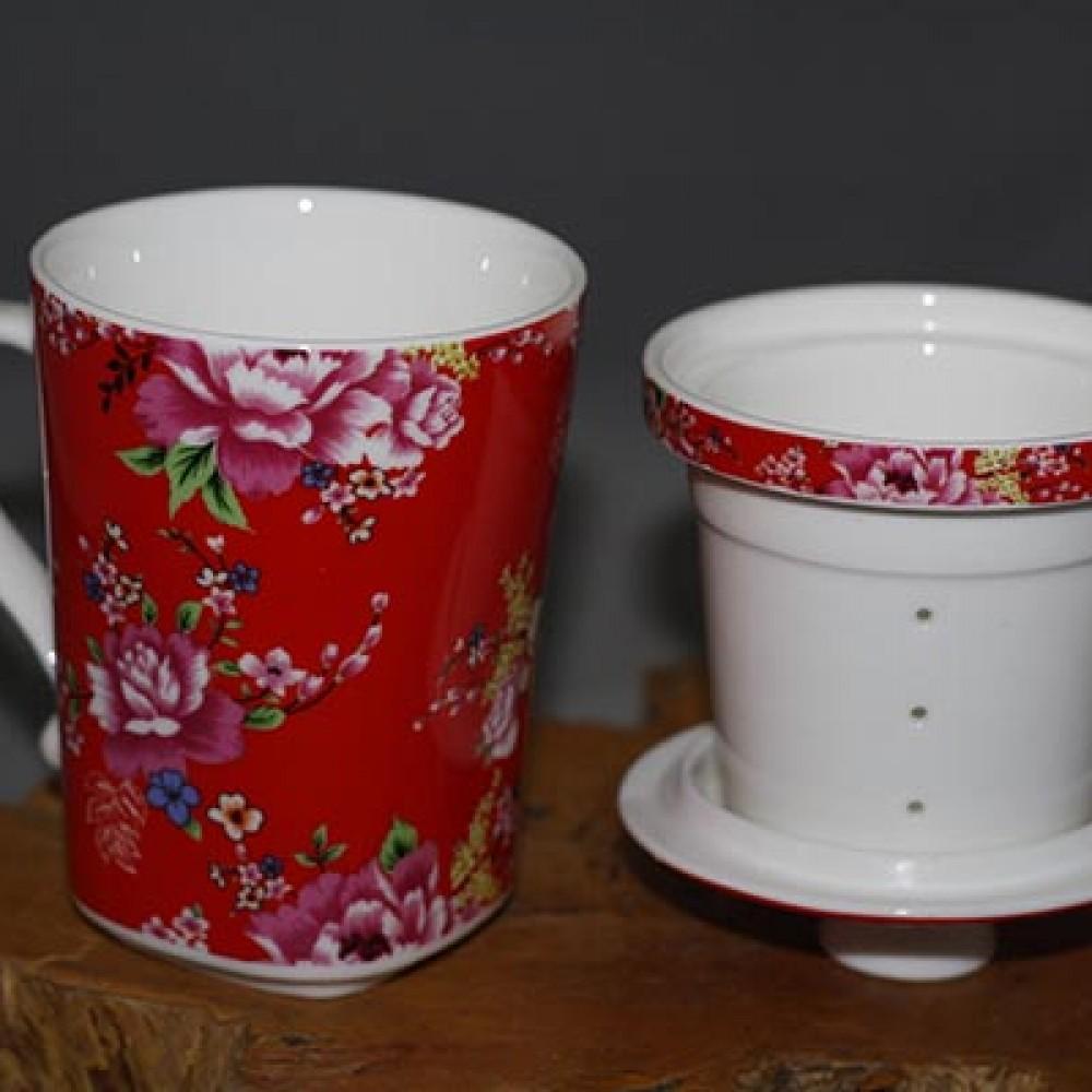 花團錦簇三件馬克杯--紅