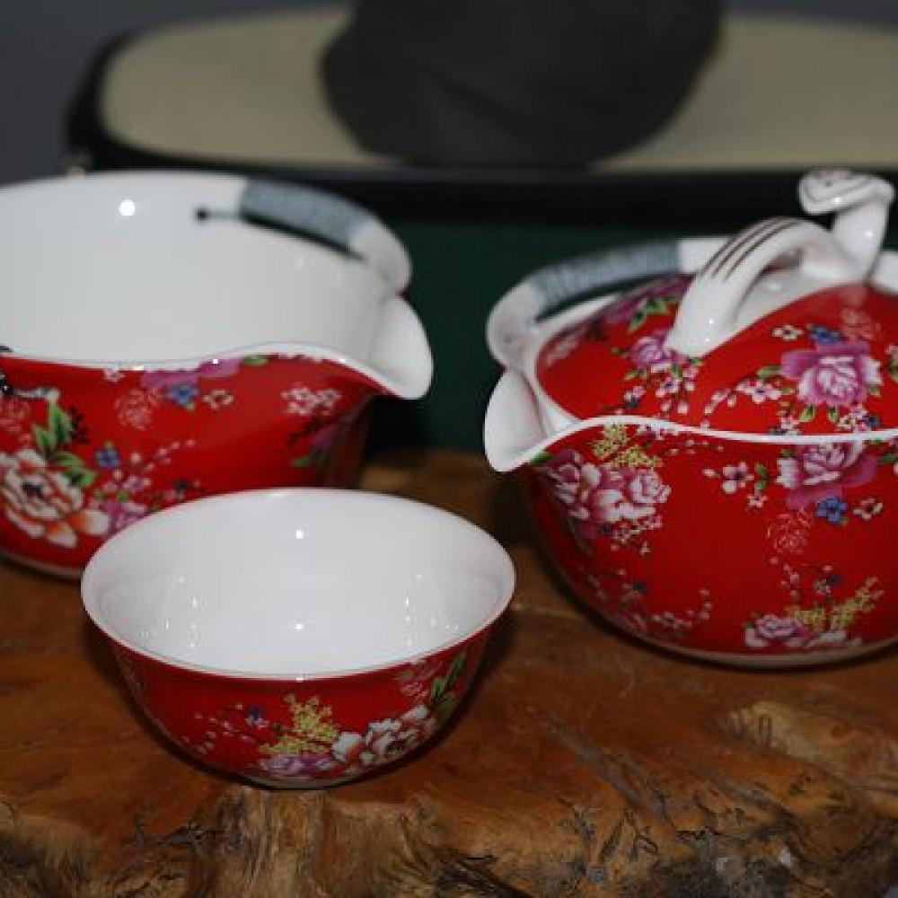 花團錦簇中杯旅行茶具組--紅