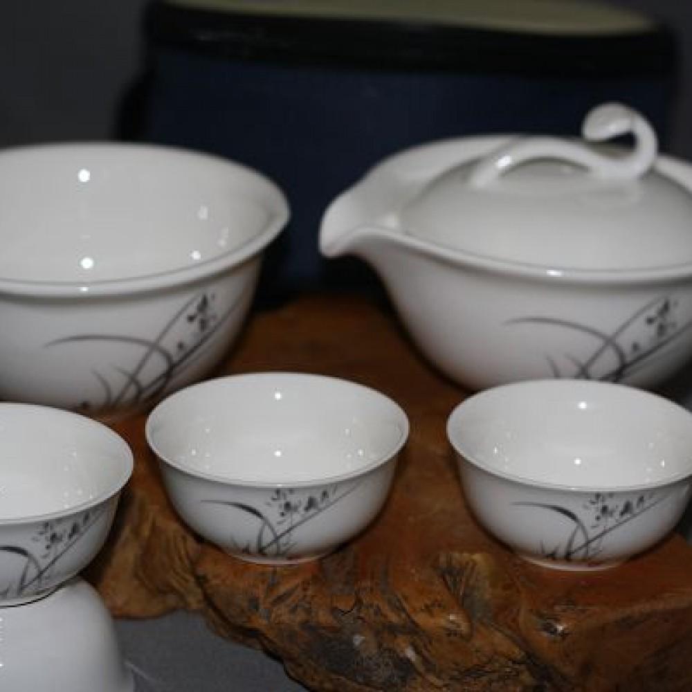 水墨蘭花旅行茶具組